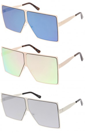 Oversized Retro Modern Futuristic Square Aviator Mirror Lens Wholesale Sunglasses