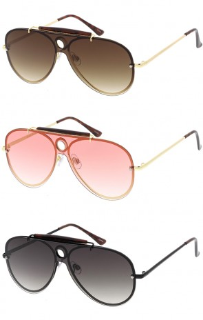 Shooter Flat Shield Aviator Wholesale Sunglasses