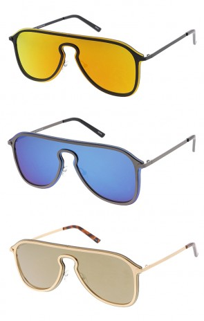 Retro Modern Mirrored Shield Lens Wholesale Sunglasses