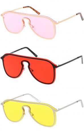 Retro Aviator Mono Color Lens Wholesale Sunglasses
