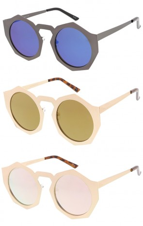 Womens Oversize Octagon Geometric Round Revo Wholesale Sunglasses
