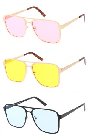 Modern Retro Flat Top Colored Lens Wholesale Sunglasses