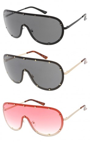 Oversized Studded One Piece Shield Lens Wholesale Sunglasses