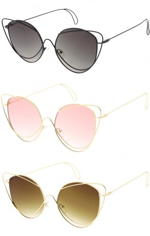 Women's Metal Wire Frame Flat Lens Butterfly Wholesale Sunglasses