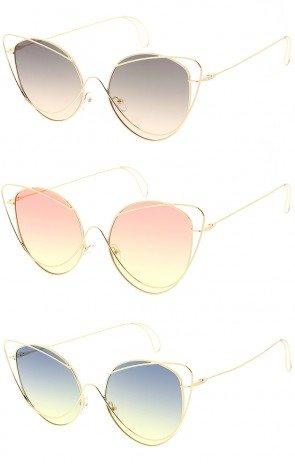 Women's Oversize Butterfly Shape Color Lens Wholesale Sunglasses