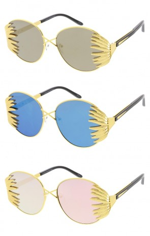 Feather Frame Mirror Flat Lens Womens Wholesale Sunglasses