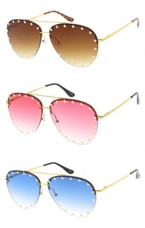 Studded Aviators Womens Wholesale Sunglasses