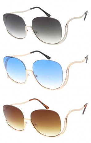 Oversized Half Frame Color Lens Womens Wholesale Sunglasses