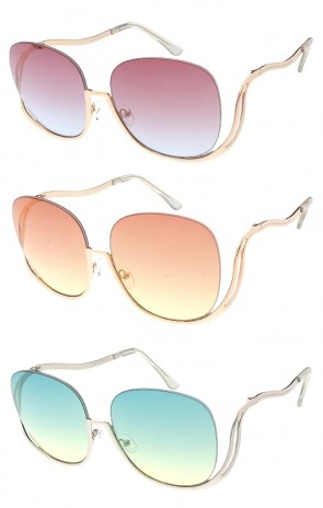 Oversized Half Frame Gradient Color Lens Womens Wholesale Sunglasses