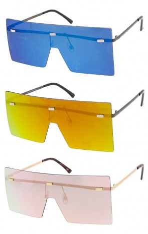 Futuristic One Piece Mirror Lens Frameless Wholesale Sunglasses