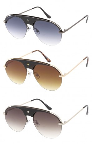 Half Frame Star Aviator Wholesale Sunglasses