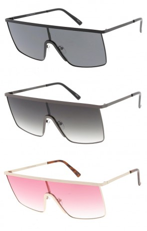 Flat Top Metal Square Shield Wholesale Sunglasses