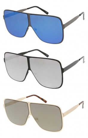 Oversized Square Metal Frame Mirror Lens Wholesale Sunglasses