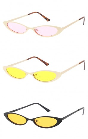 Small Oval Cat Eye Frame Color Tinted Lens Wholesale Sunglasses