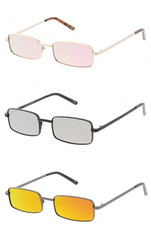 Thin Metal Rectangle Mirror Lens Wholesale Sunglasses