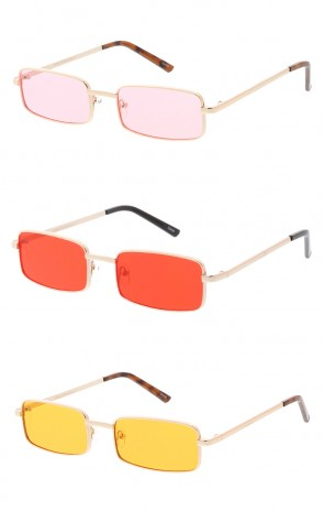 Thin Metal Rectangle Color Lens Wholesale Sunglasses