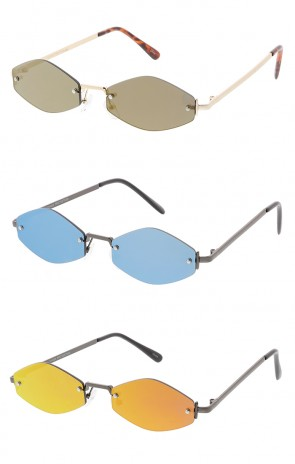 Thin Rimless Octagon Mirror Lens Wholesale Sunglasses