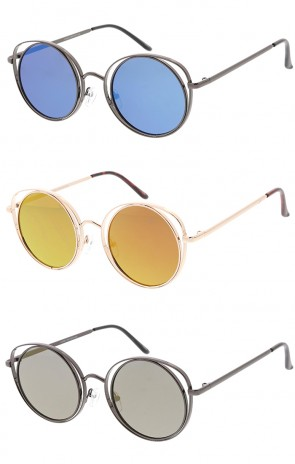 Metal Round Cat eye Mirror Lens Womens Wholesale Sunglasses
