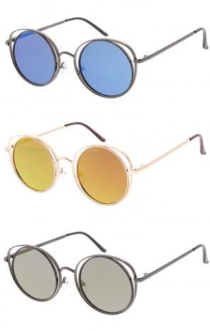 Metal Round Cat eye Mirror Lens Womens Wholesale Sunglasses