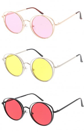 Metal Round Cat eye Solid Color Lens Womens Wholesale Sunglasses