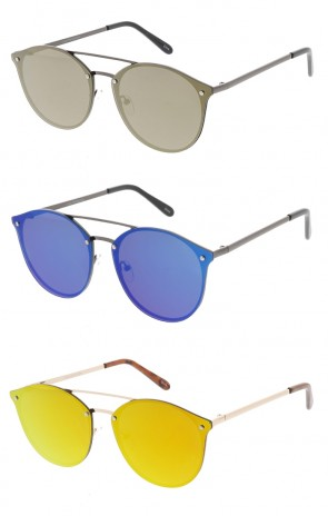 Mirrored Lens Retro Aviator Wholesale Sunglasses
