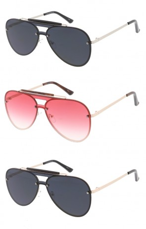 Contemporary Metal Monolens Shooter Aviator Wholesale Sunglasses