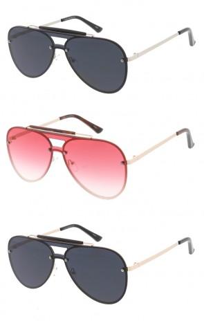 e1936a9d118 Contemporary Metal Monolens Aviator Wholesale Sunglasses
