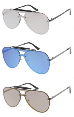 b029e13ccd Large One Piece Mirror Lens Aviators Unisex Wholesale Sunglasses