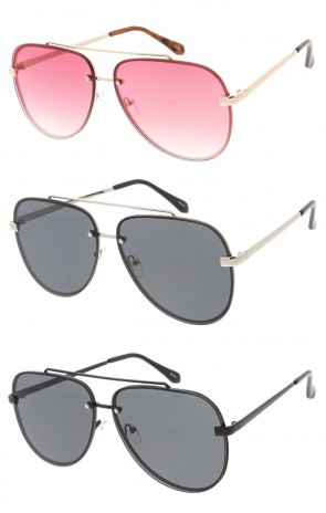 Oversized Flat Lens Aviators Wholesale Sunglasses