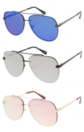 Oversized Mirror Flat Lens Aviators Wholesale Sunglasses