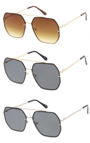 Oversized Square Aviator Flat Lens Wholesale Sunglasses