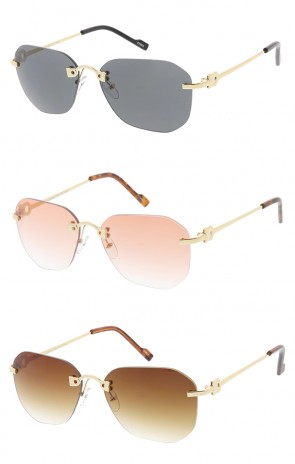 Rimless Fashion Aviator Color Lens Womens Wholesale Sunglasses