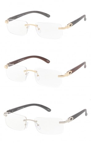 Frameless Square Clear Lens Wood Print Arm Wholesale Sunglasses