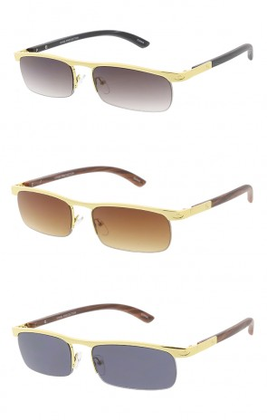 Thin Metal Half Frame Wood Print Arm Wholesale Sunglasses