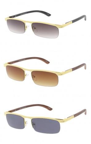 6443c4a639 Thin Metal Half Frame Wood Print Arm Wholesale Sunglasses