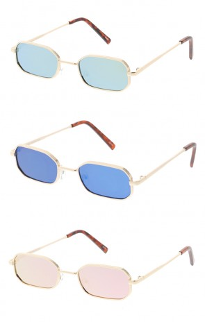 Thin Metal Rounded Rectangle Mirror Lens Wholesale Sunglasses