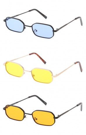 Thin Metal Rounded Rectangle Color Lens Wholesale Sunglasses