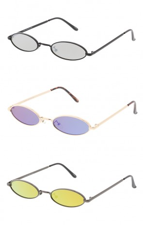 Thin Metal Oval Mirror Wholesale Sunglasses