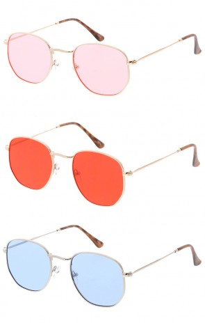 Thin Metal Rounded Square Color Lens Wholesale Sunglasses