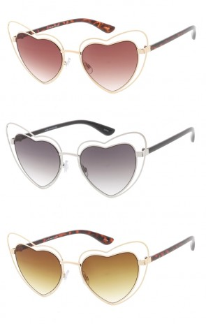 Double Metal Heart Oversized Wholesale Sunglasses (Gradient Lens)