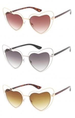 Double Metal Heart Oversized Wholesale Sunglasses (Gradient Lens)