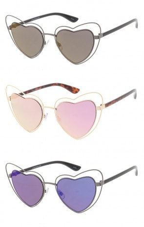 Double Metal Heart Oversized Wholesale Sunglasses (Mirrored Lens)