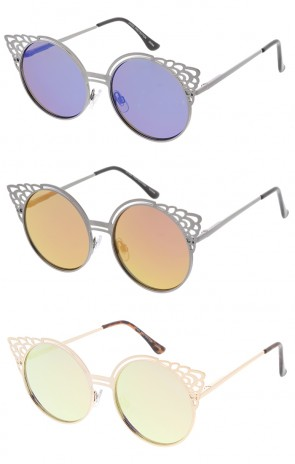 Round Metal Cut Out Mirror Lens Wholesale Womens Sunglasses