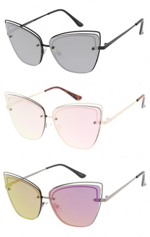 Wire Frame Mirror Cat eye Lens Womens Wholesale Sunglasses