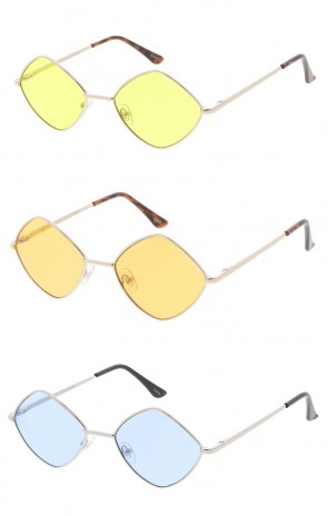 Premium Retro 1990's Fashion Small Diamond Shape Color Lens Unisex Wholesale Sunglasses