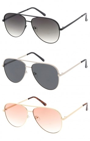 Oversized Flat Lens Metal Aviator Wholesale Sunglasses
