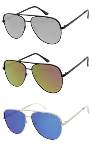 Unisex Large Aviator Metal Frame Mirrored Lens Wholesale Sunglasses
