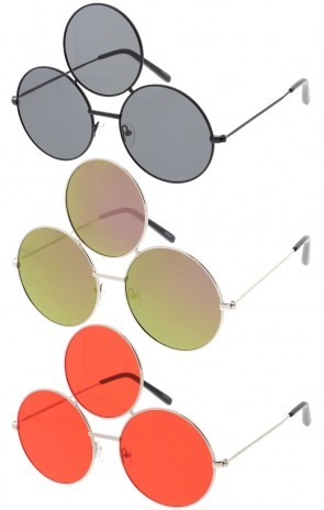 Three Lens Metal Frame Round Wholesale Sunglasses