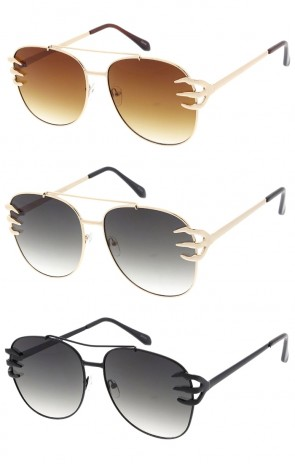 Oversized Claw Arm Flat Lens Metal Aviators Wholesale Sunglasses
