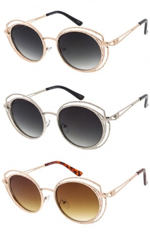 Round Womens Metal Frame Cut Out Wholesale Sunglasses